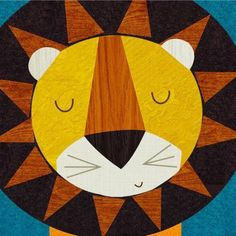 Oopsy Daisy - Retro Animals - Lion Canvas Wall Art 10x10, Rebecca Elliott