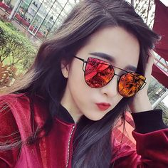 2017 Fashion Cat Eye Sunglasses Women Classic Brand Designer Twin-Beams Sunglasses UV400 Coating Mirror Flat Panel Oculos