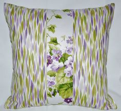 """Waverly 18x18inch Pillow Cover Case in """"Sweet Violets"""" & """"Bits n Pieces"""" Purple Green White Home Decor Cotton Invisible Zipper Fully Lined by BethsBounty on Etsy"""