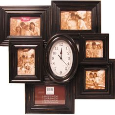 Better Homes and Gardens Picture Collage Frame with Clock, Black Wall Clock With Pictures, Home Clock, Collage Picture Frames, Garden Pictures, Better Homes And Gardens, First Home, Decorative Items, Beautiful Homes, Walmart