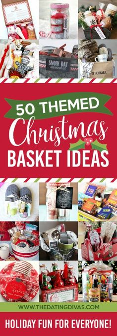 50 Themed Christmas Gift Baskets Christmas Gifts For Guys, Diy Christmas Baskets, Christmas Gift Themes, Christmas Ideas For Kids, Holiday Gift Baskets, Creative Christmas Gifts, Christmas Fundraising Ideas, Christmas Present Basket Ideas, Christmas Presents For Guys
