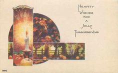Thanksgiving~Art Deco~Bright Candlelight: Apples~Dark Cornstalks Pumpkins~Turkey | eBay