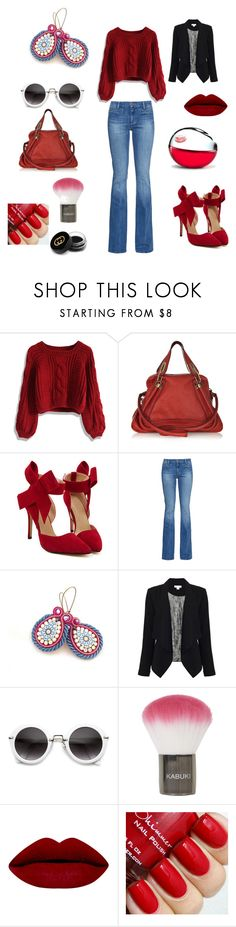 """une Touche de Rouge"" by mouna-marini ❤ liked on Polyvore featuring Chicwish, Chloé, M.i.h Jeans, Monsoon, Topshop, DKNY and Gucci"