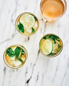 Ginger, mint, honey drinks.