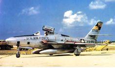 USAF Republic RF-84F-30-RE Thunderflash of the 15th TRS, loaded with drop tanks, Kadena AB, Okinawa, 1956.