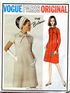 1960's Vintage Vogue Paris Original Pattern 1748 by Pierre Balmain -- One-piece Dress in size 16 bust 36 hip 38.
