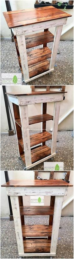 You can even add the shelving table creation of the ideal wood pallet designing in your home furniture. Simple form of pallet plank setting has been set as part of it that can act as the main purpose of settling up with some of your important products. Wood Pallet Recycling, Pallet Crafts, Diy Pallet Projects, Pallet Ideas, Wood Projects, Woodworking Projects, Woodworking Clamps, Woodworking Skills, Learn Woodworking