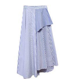 ストライプフレア切り替えスカート/2カラ