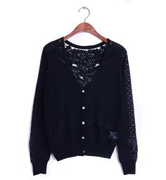 Solid Color Casual V-Neck Crochet Flower Hollow Out Long Sleeve Cardigan For Women