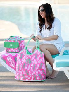 The Pineapple of My Eye Monogrammed Cooler Bag is a preppy pineapple lover's delight. This cooler tote with canvas texture feel will keep your snacks and meals nice and cool on those hot days at the beach or pool. www.beaujax.com