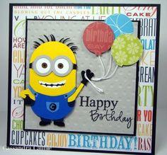 Minion birthday card.  (Pin#1: Children: General.  Pin+: Punch Art: Children; Balloons)