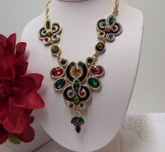 "For Sale Statement Necklace Multi Color Crystal Black Enamel Gold Chain 18"" w/5"" Extender"