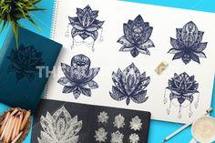 Flower Lotus. Magic symbol for print, tattoo, coloring book,fabric, t-shirt, cloth in boho style. Tribal lotus design. Vector
