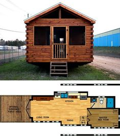 Avery Cabin Co Log Cabin Tiny Houses and Floor Plans – Project Small House Log Cabin House Plans, Small Cabin Plans, Small Log Cabin, Cabin Kits, Cabin Ideas, House Ideas, Tiny Houses Plans With Loft, Cute Small Houses, Tiny House Loft