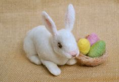 Easter Decoration Waldorf inspired needle felted bunny and easter eggs
