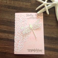 Shelly Wadge Dragonflies and Special Occasions Stampin' Up! So Detailed Thinlits Handmade Greetings, Greeting Cards Handmade, Stampin Up Karten, Stamping Up Cards, Congratulations Card, Butterfly Cards, Sympathy Cards, Anniversary Cards, Scrapbook Cards