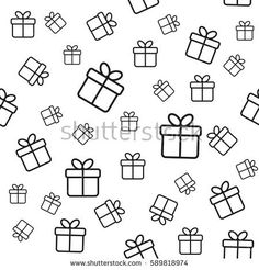 Vector seamless pattern with line gift boxes. Minimal background for covers, prints, wrapping paper design