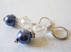 Navy Blue Earrings Navy Blue Bridesmaids by PearlyJaneBridal, $14.00