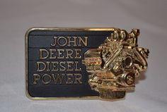 1982 VINTAGE JOHN DEERE BELT BUCKLE Diesel Power Engine Brass Gold and Black #JohnDeereDieselPower
