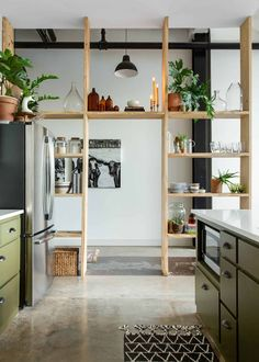 This Rental Apartments Shelf Wall Is Simple But Stunning Warm Industrial Rental Apartment Photos Apartment Therapy Diy Bathroom Decor, Diy Home Decor, Kitchen Decor, Kitchen Ideas, Kitchen Pantry, Bathroom Tiling, Kitchen Wood, Home Decoration, Kitchen Small
