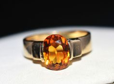 ESTATE 14K YELLOW GOLD 1.75CT ORANGE TOPAZ SOLITAIRE RING-SIZE 6 585 #Solitaire