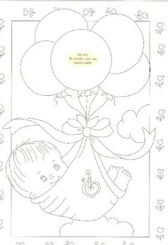 Embroidery Pattern for New Baby. Baby Embroidery, Hand Embroidery Patterns, Embroidery Stitches, Machine Embroidery, Embroidery Designs, Painting Patterns, Fabric Painting, Coloring Books, Coloring Pages