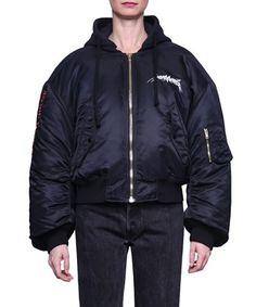 VETEMENTS Black Oversized Hooded Bomber Jacket. #vetements #cloth #jacket