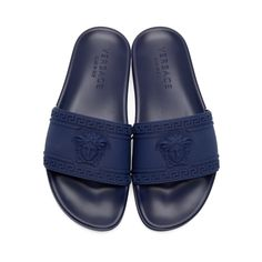 Versace - Navy Medusa Slip-On Sandals Gianni Versace, Versace Men, Versace Slides, Versace Sandals, Nike Sb, Slide Sandals, Flip Flop Sandals, Shopping, Moda Masculina