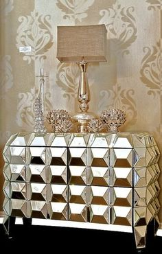 Faceted Mirrored Night Stand - Diva Rocker Glam...perfect for my room!