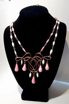 Coral and MotherofPearl Celtic Swirl Necklace set by LauraStaley, $95.00