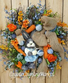 Easter Grapevine Twig Bunny Wreath-Grapevine Wreath-Burlap Wreath-Easter Burlap Wreath-Denim Bunny Wreath-Country Chic Denim Wreath by CoyoteCountryMarket on Etsy