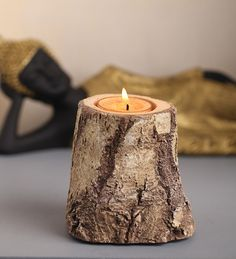 Gaia Wood-like Tealight Holder – Medium