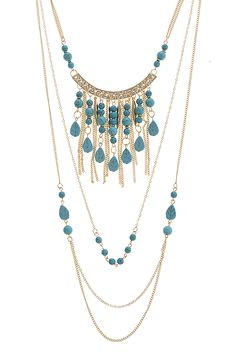 FAUX STONE LAYERED FRINGE NECKLACE SET