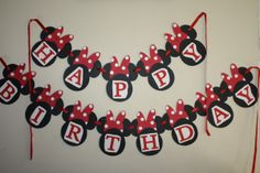 Minnie Mouse Birthday Banner classic red, white and black.