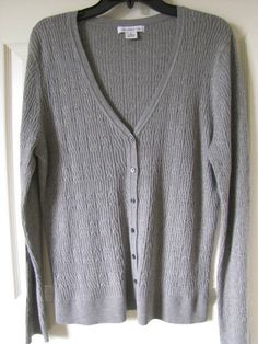 LIZ CLAIBORNE V Neck Cable Cardigan Gray Sweater Size XL Ret $45 NWT #LizClaiborne #Cardigan.  Lightweight cardigan perfect for the cool office!