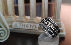 Key Jewelry, Greek Jewelry, Jewellery, Sterling Silver Cross Pendant, Handmade Sterling Silver, Signet Ring, Byzantine, Gifts For Wife, Statement Rings