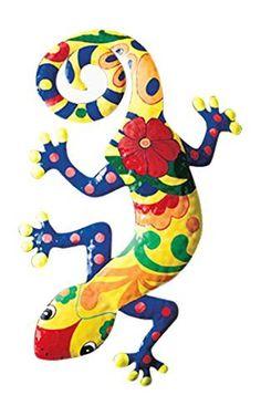 Gecko Metal Wall Art Garden Mexican Talavera Style Colorful
