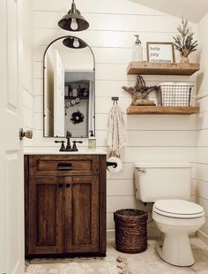 These rustic bathroom ideas will allow you to make a big impact with just a few elements. Check it now if you are a fan of rustic bathroom design! diy bathroom ideas Five Rustic Bathroom Ideas To Try At Home Downstairs Bathroom, Bathroom Wall Decor, Bathroom Lighting, Shower Bathroom, Farm House Bathroom, Bathroom Layout, Small Bathroom Redo, Bathroom Colors, Small Bathroom Ideas On A Budget
