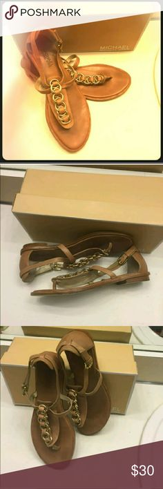 Michael Kors chain embellished sandals Than leather with gold chain Michael Kors sandals. Got LOTS of compliments on these!  Great used condition!  Open to ALL REASONABLE offers!! Michael Kors Shoes Sandals