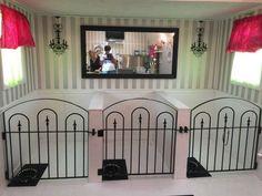 Decorative Gates Make Dog Kennel Doors – Dog Salon Pens - Decoration For Home Puppy Kennel, Dog Kennel Cover, Dog Kennel Designs, Kennel Ideas, Luxury Dog Kennels, Indoor Dog Kennels, Dog Boarding Kennels, Dog Bedroom, Puppy Room