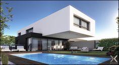 Foto de fachada moderna de casa, que se projeta sobre piscina, na Argentina