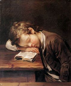 """A schoolboy sleeping on his book"", 1755. Jean-Baptiste Greuze."
