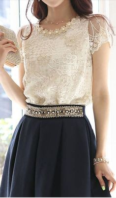 embellished lace blouse