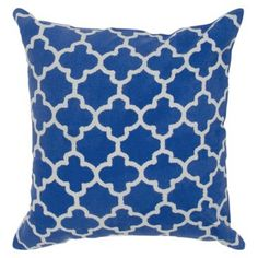 Check out this item at One Kings Lane! Marnie 18x18 Pillow, Marine Blue