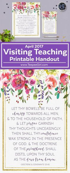 This April LDS visiting printable handout is perfect for leaving a note of love to your sisters and friends! Get it today at www.TeepeeGirl.com.
