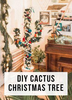 Diy: Cactus Christmas Tree - Page 4 of 31 - Easy Hairstyles Cactus Christmas Trees, Diy Christmas Tree, Outdoor Christmas, Christmas Projects, Christmas Ideas, Tropical Christmas Decorations, Fall Trees, Pallet Christmas, Christmas Music