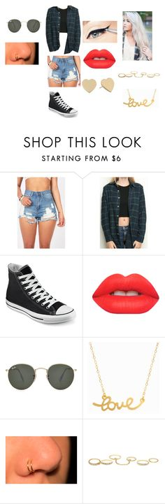 """""""Tenth"""" by official-lee ❤ liked on Polyvore featuring Brandy Melville, Converse, Lime Crime, Ray-Ban, Minnie Grace, Charlotte Russe and Kate Spade"""