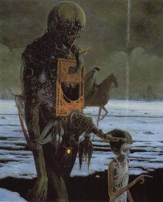 Beksinski ejecutaba sus pinturas y dibujos, en un estilo que él mismo denominó