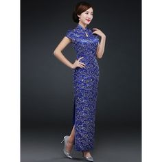 Blue Floral Ankle-Length Qipao Cheongsam Evening Dress with Split ($196) ❤ liked on Polyvore featuring dresses, gowns, flower print dress, blue gown, blue evening dresses, floral evening gown and ankle length dresses