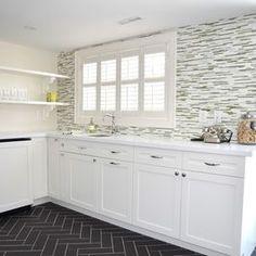 herringbone floors, mosaic feature wall
